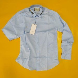 GUCCI MEN TIGER EMBRODERY COLLAR CASUAL SHIRT